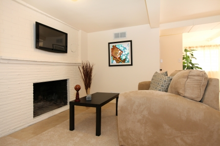 Simple living room with TV and fireplace with beige sofa. Stock Photo - 14032728