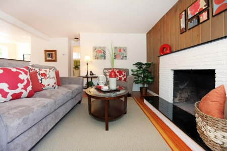 room: Beautiful cozy living room with hardwood floor and fireplace.