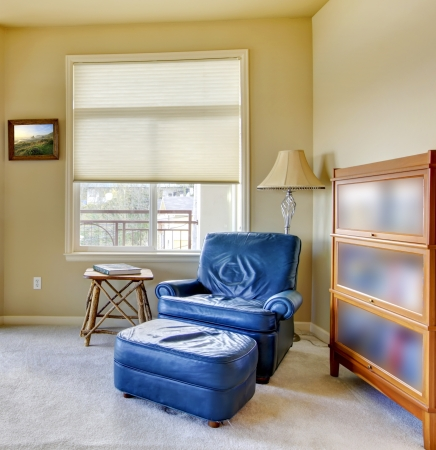 Living room with blue chair and book shelve.