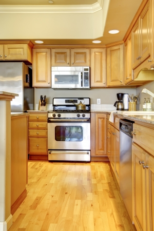 Beautiful wood kitchen with stainless steal appliances. photo