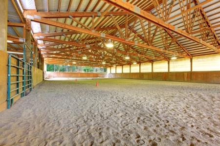 나무 광선 큰 말 경기장 내부. 스톡 콘텐츠