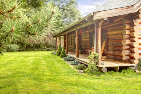 Log cabin front porch. photo