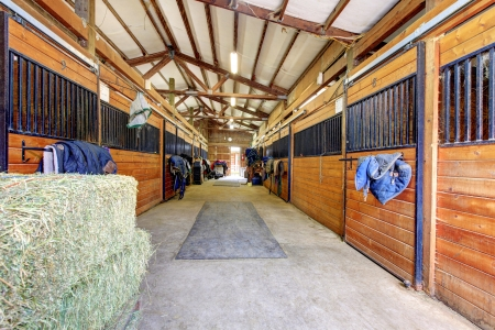 Nice large horse stable shed interior. Stock Photo