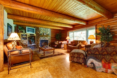 Log cabin living room interior with wood ceiling.