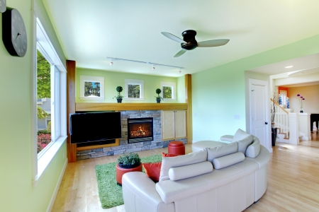 american house: Green living room with black TV and beige sofa with fireplace.