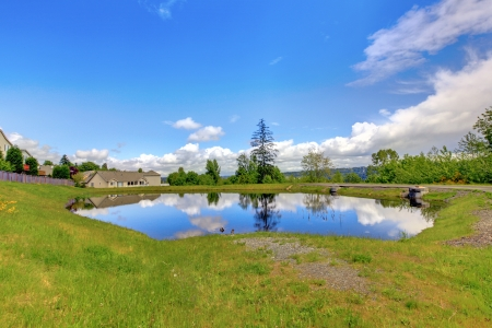 Small lake near American houses with green spring grass. Stock fotó