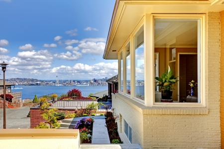Modern house exterior and amazing view of Seattle. photo