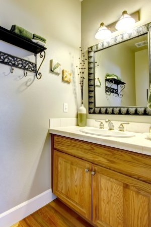 powder room: Powder room or bathroom with sink and wood cabinet.