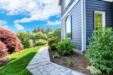 back yard: Beautiful Blue house side with walkway and green landscape.