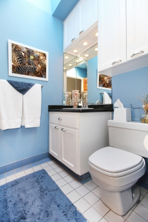 Bathroom interior with blue walls and white cabinets. photo