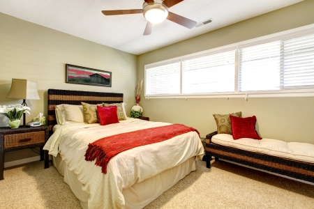 Bedroom interior with red and green, elegant simple design. photo