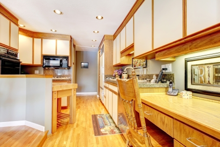 Kitchen interior with wood and white cabinets.