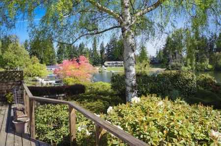 Spring lake water view from house deck with biirch tree. Stock Photo - 14617218
