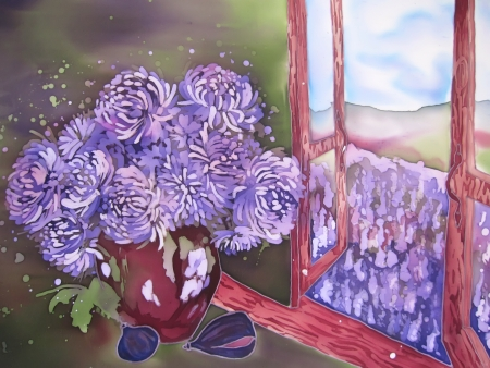 Still life painting on silk. Purple flowers near open wondow. Stock Photo - 14615021