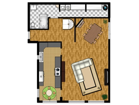 2D floor plan of the first level with kitchen, living room, bathroom and laundry room.