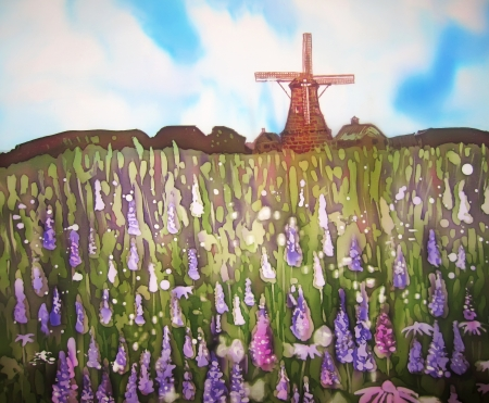 Field of purple flowers and wind mill. Original art. Painting on silk. Stock Photo - 14615018