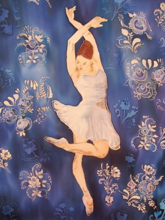 Ballerina in white dancing on blue. Painitng on silk. Stock Photo - 14615020