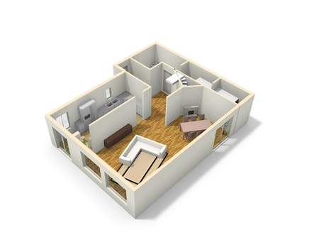 3D floor plan of the house with kitchen, living room, dining rom, bathroom and laundry room. photo