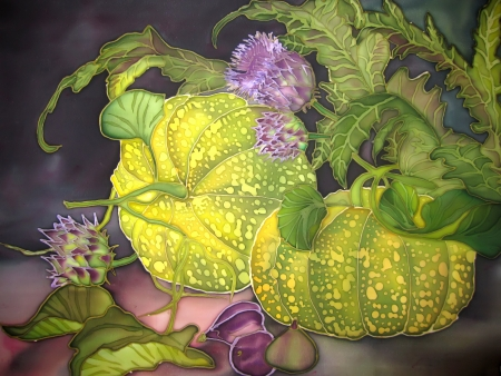 Original hand Art, painting on silk. Pumpkin with figs and flowers. photo