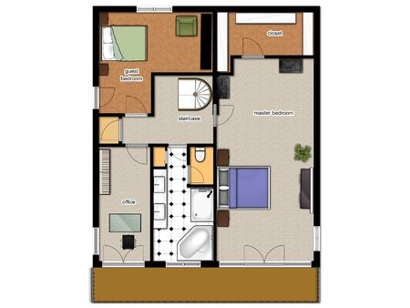 2D plattegrond met slaapkamers, bureau, badkamer en toilet.