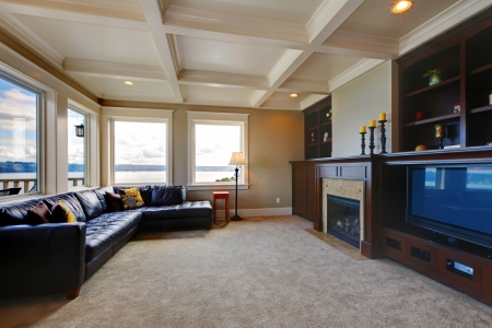 family living: Large luxury living room wth TV, water view, and shelves.