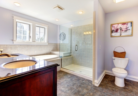 Large nice lavendar bathroom with nice shower, tub and sink. photo