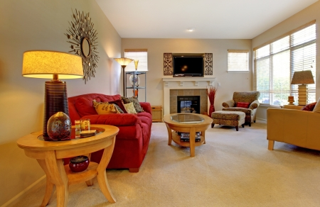 family  room: Elegant living room with red sofa, fireplace, TV and many windows.