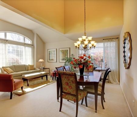 tapete: Mesa da sala de jantar elegante, com mobili�rio cl�ssico e decora��o.