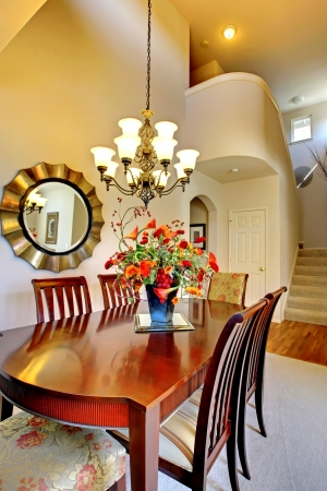 family  room: Luxury elegant classic dining room with high ceiling room.