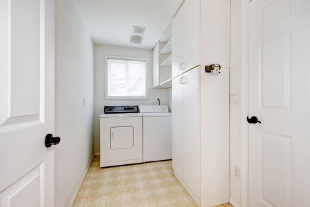 dryer: Laundry room with white walls and appliances. Stock Photo