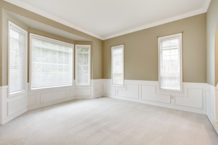 space area: Bright lbeige arge empty room with carpet, molding and  windows. Stock Photo