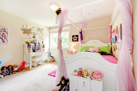 designer baby: Baby girl room interior with white bed and pink post curtains