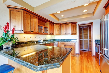Luxury apartment wood kitchen with granite countertop and cherry hardwood  Stock Photo - 16306559