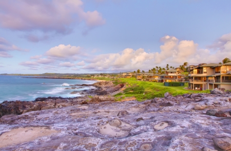 Island Maui cliff coast line with vacation houses. photo