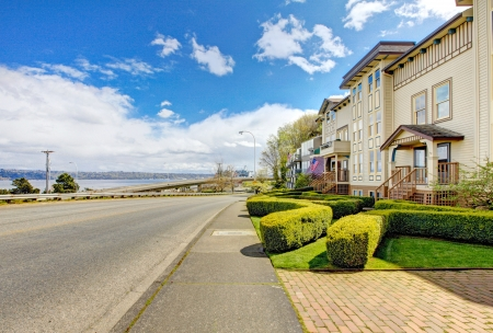 Apartment building with road and water view in Tacoma, Old town Stock Photo - 16306561