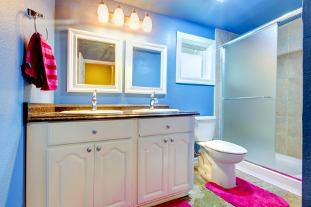 Kids Bathroom with blue walls,  pink rug and towel  photo