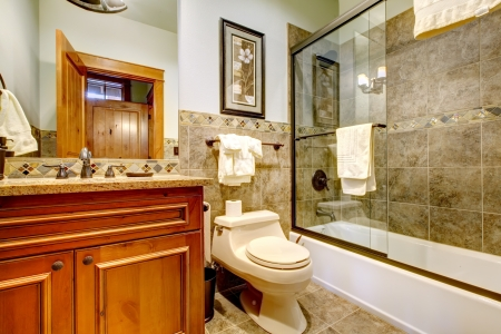 Luxury mountain home bathroom with shower, tub, natural stone tiles. Stock Photo - 16662828