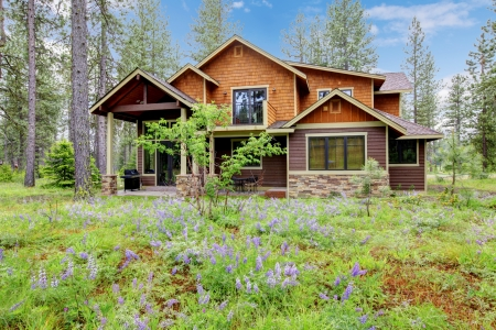 Mountain cabin home wood exterior with forest and flowers. photo