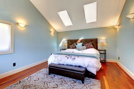 cherry hardwood: Blue bedroom with bed and skylight and cherry hardwood.