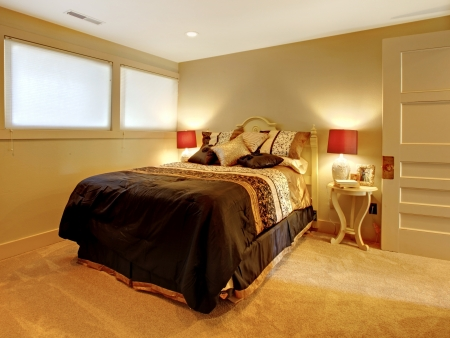 Small basement bedroom with guest bed and yellow colors. photo