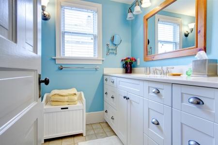cuarto de ba�o: Cuarto de ba�o azul y blanco con una gran cantidad de espacio de almacenamiento con la puerta abierta.