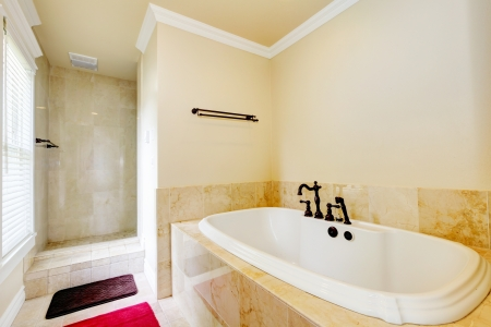 Nice empty bathroom with large white tub and walk-in shower. Stock Photo - 17056395