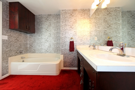 Old antique bathroom with red carpet, dark wood  and wallpaper. Stock Photo - 17100548