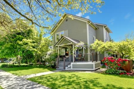 House spring grey exterior with entrance porch. Stock Photo - 17100612