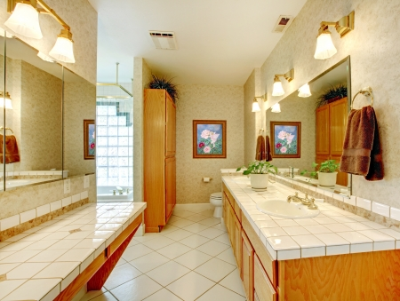 Bathroom with glass wall and  double sinks. Stock Photo - 17100546