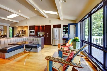 chambre luxe: Ouvrir une vie luxueuse maison moderne int�rieur de la chambre et la cuisine.