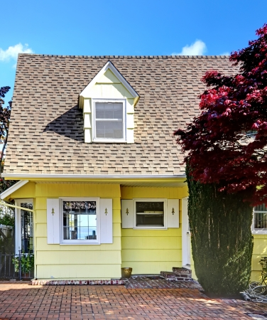 Yellow small home with water view and red maple. Stock Photo - 17124835