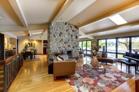 Abrir Casa Moderna De Lujo Interior Living Comedor Y Cocina. Fotos ...