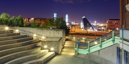 Tacoma city downtown  at night with museum of glass and history