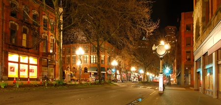 Pioneer square in Seattle at early spring night  Empty street